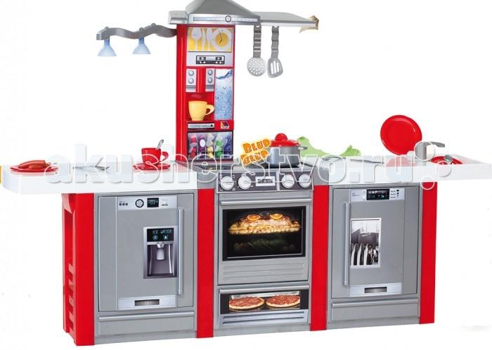 Molto Детская игровая кухня со звуковыми эффектами и светом 3 модуляДетская игровая кухня со звуковыми эффектами и светом 3 модуляMolto Детская игровая кухня со звуковыми эффектами и светом 3 модуля – мечта каждой девочки. На такой кухне малышка сможет не только приготовить разные вкусные блюда, но и весь процесс будет сопровождаться звуковыми и световыми эффектами, что добавляет игре реалистичности. Теперь юная хозяюшка сможет самостоятельно готовить свои любимые блюда и угощать ими родителей или же своих куколок. Игровая кухня включает 2 зоны игры: для приготовления еды, обеденная зона, а также множество аксессуаров для приготовления вкусностей, поэтому обед будет во время.  Во время игры ребенок сможет развивать логическое мышление, моторику пальчиков рук, а также просто весело проводить время.   В комплект входит: духовка плита вытяжка посудомоечная машина холодильник кофемашина 21 аксессуар для кухни: 2 чашки, кастрюля, крышка для кастрюли, 2 блюдца, 2 тарелки, 2 чайные ложки, 2 ножа, 2 вилки, 2 столовых ложки, поднос, 2 колбаски, шумовка, лопатка  Размер кухни в собранном виде: 150 х 34 х 100 см<br>