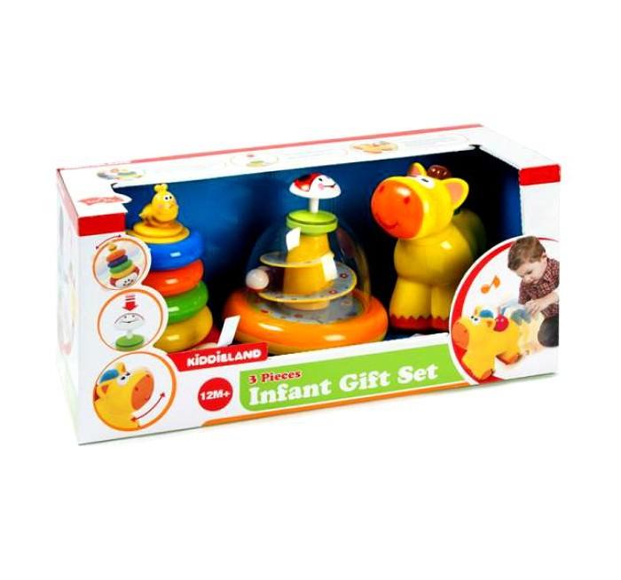 Развивающая игрушка Kiddieland Развивающий центр Набор - юла, пирамида, каталкаРазвивающий центр Набор - юла, пирамида, каталкаРазвивающая игрушка Kiddieland Набор - юла пирамида каталка необходимые для гармоничного развития каждого ребёнка. Игрушки способствуют развитию мелкой моторики, цветового и звукового восприятия, логического мышления, координации движений, воображения и фантазии малышей.  Юла имеет прозрачный купол, внутри которого находится спираль с изображением птиц, цветов, улиток и т.д. Пирамидка выполнена в классическом стиле и состоит из основания, разноцветных колёсиков и верхушки, исполненной фигуркой пчёлки. Игрушка Пони способна кататься по поверхности с помощью подвижных колёсиков, забавно качая головой и воспроизводя музыку.<br>