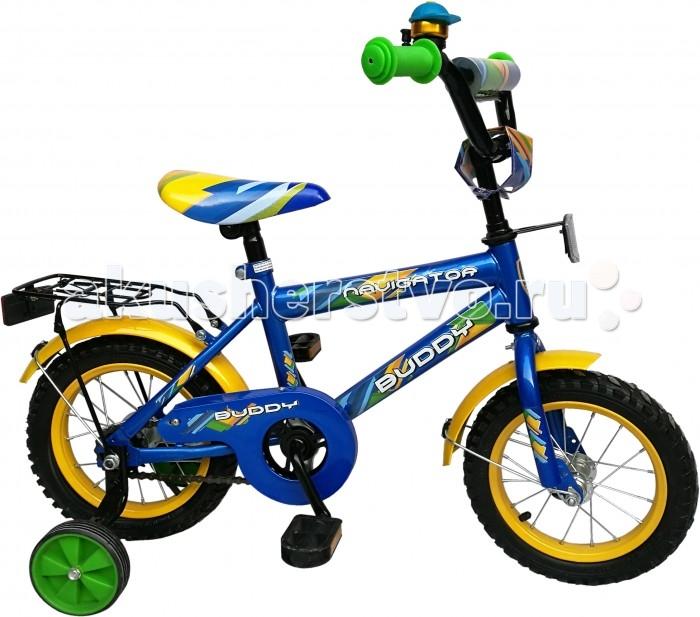 Велосипед двухколесный Navigator Buddy HB-тип 12Buddy HB-тип 12Двухколесный велосипед Navigator Buddy HB-тип 12 подарит радость вашему ребенку.   Особенности:  Однокомпонентный кареточный узел Камеры из натуральной резины Стальные обода Покрышки 12 х 2,125 Задний ножной тормоз Вставки в колесах Широкие страховочные колеса Звонок Возраст от 3 до 5 лет<br>