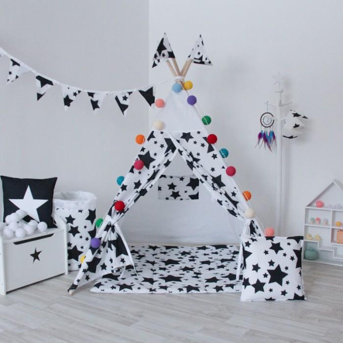 Палатки-домики VamVigvam Вигвам Black Stars с окном vamvigvam детский ночник pineapple