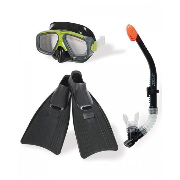 Intex Плавательный набор маска трубка ласты Серфингист от 8 летПлавательный набор маска трубка ласты Серфингист от 8 летIntex Плавательный набор маска, трубка, ласты, Серфингист от 8 лет - позволит насладиться подводным плаванием, ощущая себя в полной безопасности. Трубка оснащена защитой от попадания воды, маска плотно облегает лицо за счет прочных силиконовых ремешков. Ласты обладают высокой прочностью и пластичностью.  Особенности: для детей от 8 лет маска: силикон, поликарбонат трубка: силикон, латексный загубник ласты: башмак из силикона, поверхность из полимерного материала высокой прочности вес: 1.535 кг.<br>