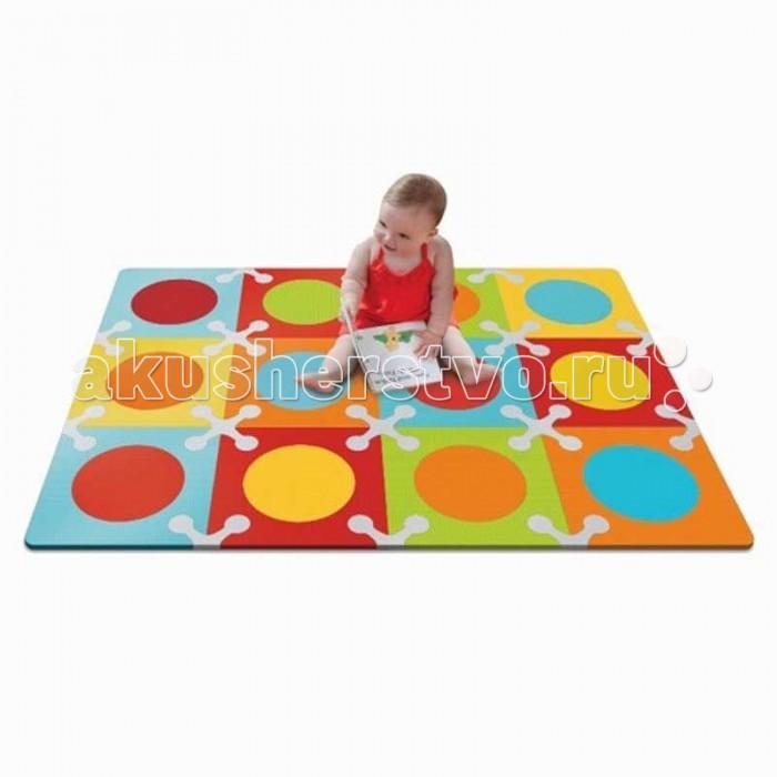 Игровой коврик Skip-Hop Напольный цветнойНапольный цветнойИгровой коврик Skip-Hop Напольный цветной – это мягкий напольный коврик-пазл, предназначенный для создания безопасной и комфортной игровой зоны малыша и развития его творческих способностей. Собирайте. Играйте. Переставляйте. С помощью стимулирующих расцветок, различных вариантов сочетания цветов Playspot навсегда преобразит игровое пространство малыша, создавая яркую, безопасную и комфортную поверхность для игр.   Коврик-пазл можно собрать в любой конфигурации: от минимальной, состоящей всего из 4 секций, до максимальной, использующей все 12 квадратов, размером 1.42 х 1.07 м.  Предназначен для детей от 10 месяцев. Изготовлен из экологически чистых материалов.<br>