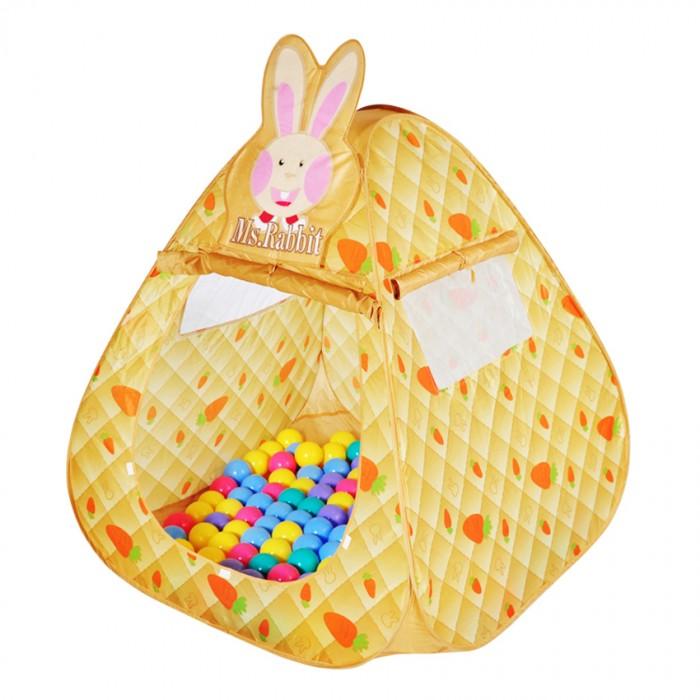 BabyOne Ching-Ching Дом + 100 шаров КроликChing-Ching Дом + 100 шаров КроликChing-Ching Дом + 100 шаров Кролик Красочные и интересные игровые домики для детей — это лучшее решение родителей, чтобы ребенок мог активно играть с пользой для здоровья!   Домики очень компактные, легкие и их легко брать с собой, например, на дачу или на природу.   В комплекте 100 разноцветных шариков, играя которыми, малыши развивают ловкость и моторику рук. А дружелюбная зайчиха — мисс Зайка — делает игры еще более интересными.  Палатка имеет окошки из сетки. Специальная дверка закрепляется на липучках. Достаточно высокий порог не позволит выкатываться шарикам.  Размеры: 100&#215;100&#215;100 см<br>