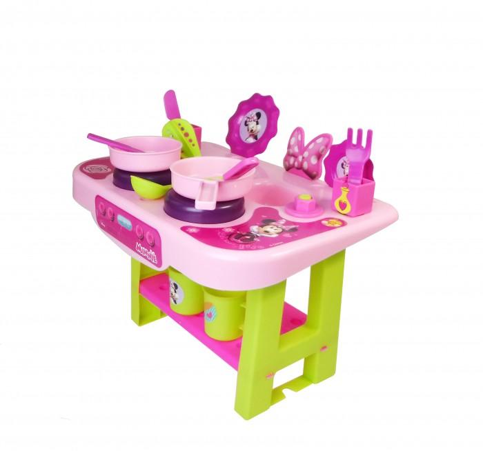 Bildo Игровая кухня малая МинниИгровая кухня малая МинниBildo Игровая кухня малая Минни включает в себя всё необходимое, чтобы приготовить угощение для друзей и кукол: плиту, сковороду, тарелки, столовые приборы и многое другое. Набор выполнен в ярких цветах всеми известной мышки Минни Маус: розовом, фиолетовом и салатовом. Также на кухне присутствует изображение самой Минни.  В комплект входят 12 предметов кухонной утвари.  Все элементы набора выполнены из качественных материалов, безопасных для здоровья ребенка.<br>