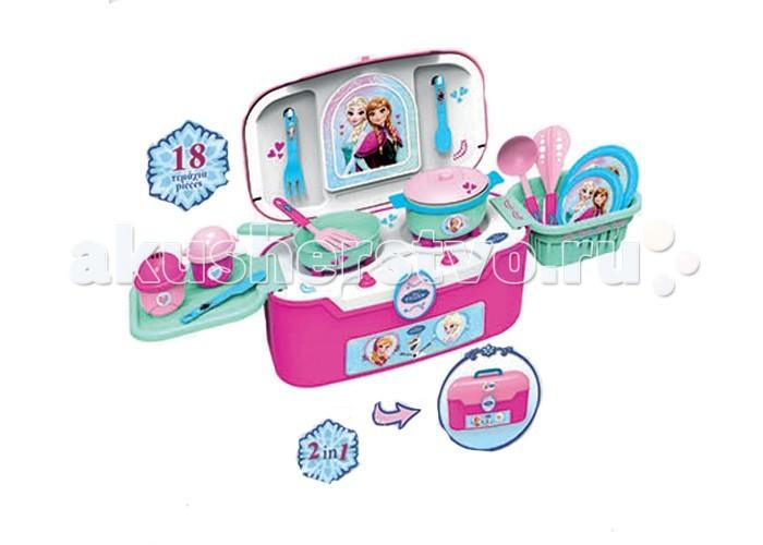 Bildo Игровая кухня в чемодане Холодное сердцеИгровая кухня в чемодане Холодное сердцеBildo Игровая кухня в чемодане Холодное сердце выполнена в стиле обожаемой многими девочками героини популярного мультипликационного фильма Холодное сердце - Принцессы Софии.   Кухня оснащена 18 аксессуарами для реалистичной игры, включая пластиковые тарелки, кастрюлю, сковородку, столовые приборы. Плита имеет 2 конфорки. Кухня легко трансформируется в удобный чемоданчик.   Изделие произведено из качественного и прочного пластика с использованием ярких и нетоксичных красителей.<br>