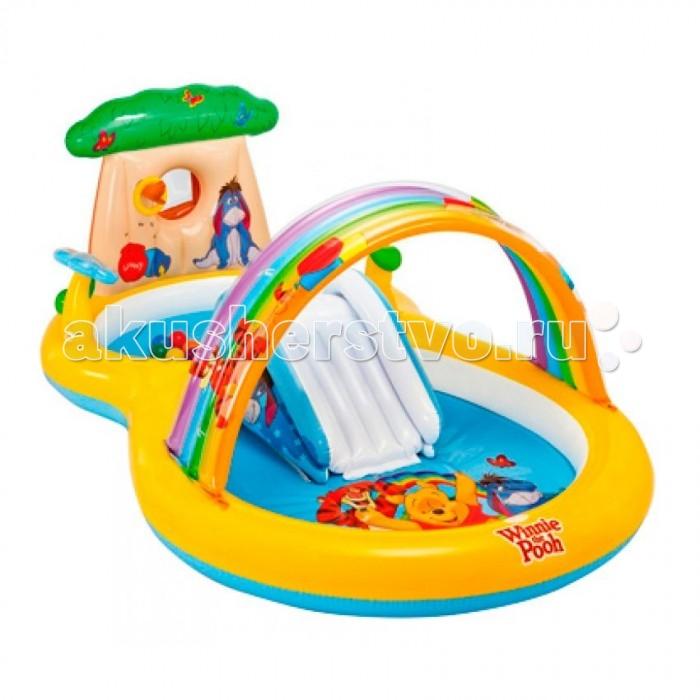 Intex Детский надувной центр Винни Пух 282х173х107 смДетский надувной центр Винни Пух 282х173х107 смIntex Детский надувной центр Винни Пух 282х173х107 см играть в детском надувном центре можно на лужайке возле дома все лето. Такой игровой центр будет отличным подарком для детишек. Игровой центр может служить сухим бассейном, а можно напустить в него немного воды, которая будет приятно охлаждать в жаркий полдень.  Характеристики детского игрового центра надувной центр имеет такие размеры – 282 х 173 х 107 см комплектуется детский игровой центр горкой, душем, надувной аркой.<br>