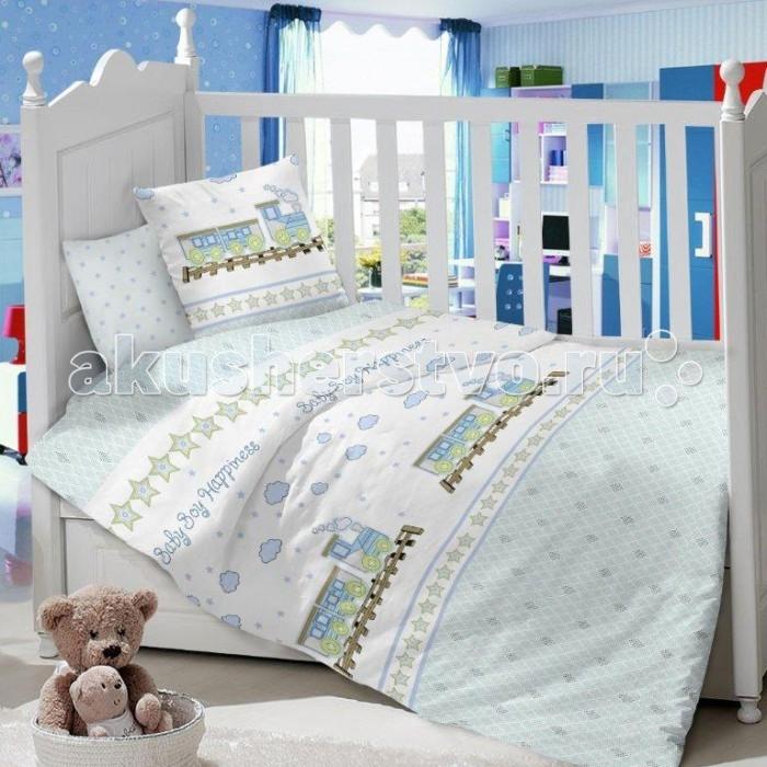 Комплект в кроватку Dream Time Baby boy Happiness (3 предмета)Baby boy Happiness (3 предмета)Комплект в кроватку Dream Time Baby boy Happiness (3 предмета), состоящий из наволочки 40х60 см, простыни 110х150 см и пододеяльника 110х145 см, выполнен из качественной ткани, специально для детских кроваток.   Комплект рассчитан специально для малышей от 0 до 4 лет. Сатин прочная и плотная ткань с диагональным переплетением хлопковой нити. Несмотря на повышенную плотность, этот материал отличается необыкновенной мягкостью и шелковистой фактурой.   Высокая плотность материала обеспечивает его долговечность и способность выдерживать многочисленные стирки на протяжении многих лет. Белье при этом продолжает оставаться все таким же ярким и привлекательным, поскольку ткань не линяет, не скатывается и не садится.   Такой комплект идеально подойдет для кроватки вашего малыша. На нем ребенок будет спать здоровым и крепким сном. Тон изделия может незначительно отличаться от изображения.<br>