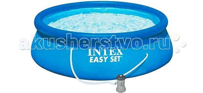 Бассейн Intex Надувной Easy Set 457х107 смНадувной Easy Set 457х107 смIntex Надувной бассейн Easy Set 457 х 107 см насос-фильтр, лестница, тент, подстилка, набор для чистки, видео обладает рядом неоспоримых преимуществ. Его сможет быстро и легко установить даже человек, не обладающий особыми навыками. Весь процесс от начала сборки до наполнения бассейна водой занимает не более 15 минут. Вам необходимо только подключить насос, поскольку по мере заполнения бассейна надувное кольцо, поддерживающее борта, поднимается вместе с уровнем воды и тем самым расправляет его стенки.  Бассейн изготовлен из высококачественного ПВХ, оригинальная запатентованная технология, которая используется для производства материала стенок, придает конструкции бассейна особую прочность. Поливинилхлорид устойчив к механическим повреждениям (ударам, сминанию, сгибанию), воздействию солнечных лучей, гипоаллергенен, безопасен для детей.  К сливному клапану можно легко присоединить садовый шланг и слить воду в любое удобное место, в том числе использовать для полива. Перед установкой бассейна не требуется специально подготавливать грунт, однако необходимо проверить площадку на наличие камней, стекла, корней и других посторонних предметов и удалить их.  Комплектация: надувной бассейн Intex Easy Set 457 х 107 см насос-фильтр для очистки и рециркуляции воды лестница высотой 107 см защитный тент настил под бассейн руководство пользователя видео инструкция по установке и демонтажу набор для чистки.<br>