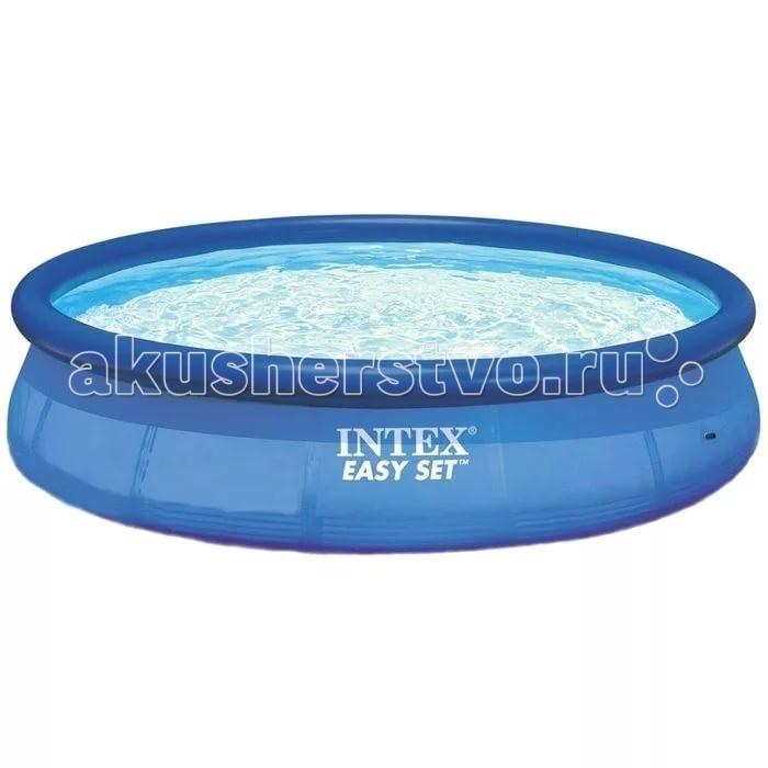 Бассейн Intex Надувной Easy Set 366х76 смНадувной Easy Set 366х76 смIntex Надувной бассейн Easy Set 366 х 76 см — это, пожалуй, один из самых недорогих бассейнов, который приобретается для семейного пользования. В нем легко умещаются несколько взрослых и ребятишек. Бассейн легко и быстро устанавливается без применения технических средств. Весь процесс сборки бассейна до наполнения водой занимает 10 минут.  Чаша бассейна, выполненная из 3-х слойного армированного Пвх, обладает хорошей устойчивостью к растягиваниям, стираниям, износам, механическим повреждениям и солнечному свету. Надувной виниловый борт выполняет функцию каркаса-поплавка, при заполнении бассейна, поднимаясь вместе с уровнем воды, он расправляет стенки бассейна. Данная модель подходит для плавания взрослых, и детей с 6 лет, под присмотром. Внешняя сторона выполнена в классическом синем цвете, а внутренняя в бело - голубом с имитацией под мозаичную плитку.   Всё что потребуется сделать это разложить полотно бассейна на ровной поверхности предварительно очистив подготовленное место, от веток, камней и других предметов, которые могут повредить дно бассейна, расправив так чтобы не осталось складок, затем накачать верхее кольцо, воздушным насосом для накачивания надувных изделий, приобретается отдельно и обеспечить подачу воды. В данной модели предусмотрен клапан, для удобного слива воды, с возможностью подключения садового шланга, и разъёмы для подключения хлорирующих и фильтрующих устройств.<br>