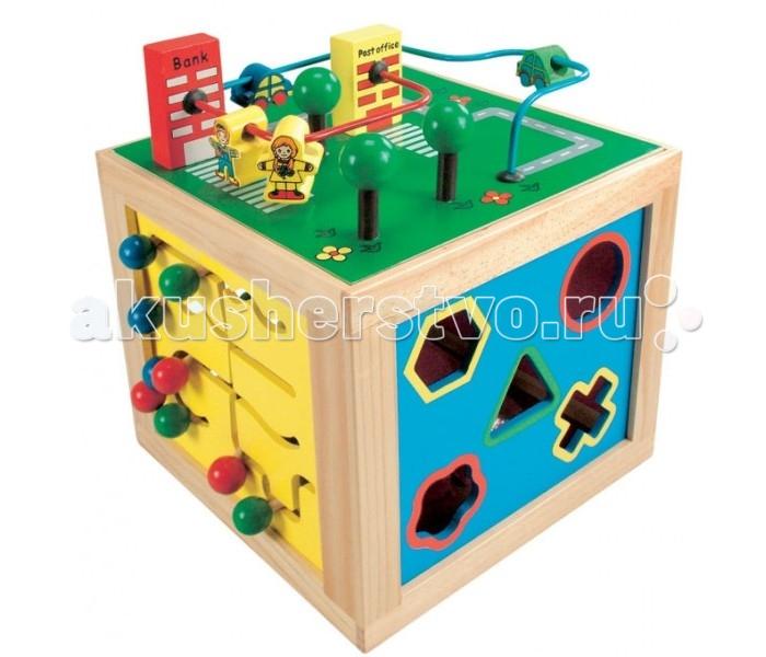 Деревянная игрушка Bino многофункциональный куб 84185многофункциональный куб 84185Bino Развивающий многофункциональный куб - интересный набор для развития самых различных полезных качеств и навыков у ребенка. Каждая из граней деревянного куба, кроме основания, представляет собой отдельную развивающую игру, которая будет интересна ребенку как сама по себе, так и в чередовании с играми, которым посвящены остальные четыре грани развивающего куба Бино.   Развивающие игры, по сторонам куба: оригинальные красные часики разноцветные обучающие счеты сортер головоломка запутанный лабиринт. На шестой грани куб устанавливается, чтобы с ним было удобно играть. Этот забавный и своеобразный кубик развивает логику, моторику, сенсорику, ощущение пространства у ребёнка.<br>