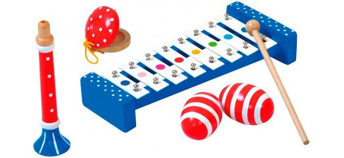 Музыкальная игрушка Bino набор инструментов 86587набор инструментов 86587Bino Набор музыкальных инструментов - от ученых давно известно, что излюбленные мелодии действуют на человека благотворно и умиротворяющее, а что может быть милее собственно созданной? С изумительным набором инструментов от Bino малютка на правах компетентного композитора будет создавать и хвастаться своими собственными музыкальными творениями. Для полноценного процесса музицирования немецкий изготовитель включил несколько инструментов.   Звонкую основу композиции создаст металлофон с большим количеством клавиш – по ним следует ударять деревянной палочкой с наконечником-шариком, она также присутствует в наборе. Дудочка предназначена для добавления нежности и глубины звучанию, а экзотическую перчинку придадут задорные кастаньеты. Шумовые яйца вызовут у ребеночка светлые воспоминания, поскольку напомнят о погремушке. У инструментов насыщенный окрас броского красного и синего цвета, они настраивают на позитивный лад и создание жизнерадостных мелодий. Для всех составляющих набора был выбран самый экологичный материал – древесина.<br>