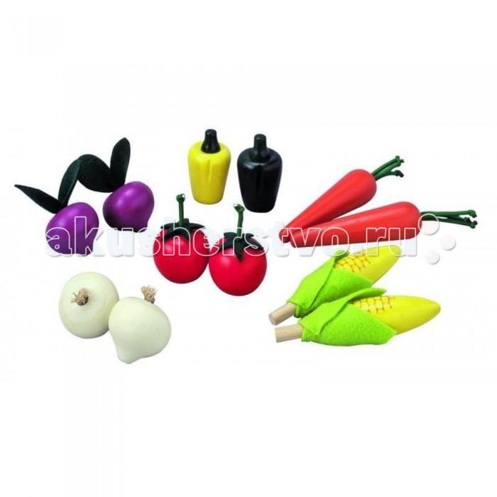 Деревянная игрушка Plan Toys Набор овощиНабор овощиДеревянный набор овощей от Plan Toys включает в себя: 2 помидора, 2 морковки, 2 початка кукурузы, 2 свеклы, 2 перца и 2 чеснока. Прекрасное дополнение к любой кухне Plan toys.  Игрушечные фрукты и овощи позволяют детям накормить своих подопечных, что помогает малышам развивать фантазию и воображение.  Развивает речевые и коммуникационные навыки.  Играя с овощами и фруктами, дети учатся таким социальным правилам, как давать и брать, взаимный обмен, сотрудничество и совместное пользование, готовясь к жизни в мире взрослых.   Все игрушки Plan Toys выполнены из каучукового дерева с использованием нетоксичных красок и специально изготавливаются с закругленными краями, чтобы избежать вероятности травмирования.<br>