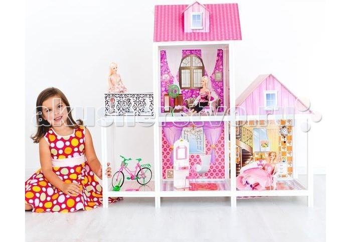 Paremo Кукольный домик 2-этажный 3 комнатыКукольный домик 2-этажный 3 комнатыParemo Кукольный домик 2-этажный 3 комнаты с мебелью, велосипедом и 3 куклами.  Двухэтажный дом для кукол формата 25-30 см В доме 3 комнаты, 1 балкон, веранда Материалы: Пластик (каркасы дома, мебель и аксессуары, куклы) + картон (перекрытия, стены, крыша) В комплекте: Домик, 3 куклы, мебель, предметы интерьера, аксессуары для кукол, велосипед для куклы Игрушка поставляется в разобранном виде, сборка по принципу конструктора ВНИМАНИЕ! Для устойчивой фиксации картонные вставки требуют проклейки с каркасами домика.  Вес: 9 кг Материалы: Пластмасса, картон Размеры (габариты): 100 х 42 х 105 см Размеры упаковки: 78 х 13 х 36 см<br>
