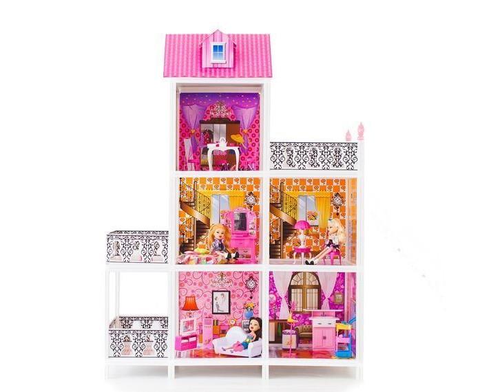 Paremo Кукольный домик 3-этажный 5 комнат PPCD116-04Кукольный домик 3-этажный 5 комнат PPCD116-04Paremo Кукольный домик 3-этажный 5 комнат PPCD116-04 с мебелью, велосипедом и 3 куклами в комплекте.  Домик предназначен для детей старше 3-летнего возраста Игрушка состоит из пластика и картона Большой игрушечный дом для кукол частично открытый (задняя стенка глухая, лицевая часть полностью открыта) Разработан специально для кукол высотой до 30 см (прекрасно подходит для Barbie, Winx, Moxie, Bratz, Sonya Rose и т.д.) В комплекте: различные предметы мебели, 3 куклы  Особенность:достаточно насыщенное цветовое решение и лаконичная конструкция дома придает ему визуальную респектабельность. Это надежное и комфортное жилище для дружной и большой кукольной семьи. 3 этажа, лестница. ВНИМАНИЕ! Для устойчивой фиксации картонные вставки требуют проклейки с каркасами домика.  Вес: 8 кг Материалы: Пластмасса, картон Размеры (габариты): 101 х 41 х 137 см Размеры упаковки: 85 х 14 х 36 см<br>