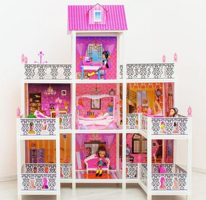 Paremo Кукольный домик 3-этажный 7 комнатКукольный домик 3-этажный 7 комнатParemo Кукольный домик 3-этажный 7 комнат  с мебелью, балконами, мопедом и 3 куклами в наборе.  Домик предназначен для детей старше 3-летнего возраста Игрушка состоит из пластика и картона Большой игрушечный дом для кукол частично открытый (задняя стенка глухая, лицевая часть полностью открыта) Разработан специально для кукол высотой до 30 см (прекрасно подходит для Barbie, Winx, Moxie, Bratz, Sonya Rose и т.д.) В комплекте: различные предметы мебели, 3 куклы  Особенность:  достаточно насыщенное цветовое решение и лаконичная конструкция дома придает ему визуальную респектабельность. Это надежное и комфортное жилище для дружной и большой кукольной семьи. 3 этажа, 7 комнат, 4 балкона и 2 веранды. ВНИМАНИЕ! Для устойчивой фиксации картонные вставки требуют проклейки с каркасами домика.  Вес: 10 кг Материалы: Пластмасса, картон Размеры (габариты): 112 х 76 х 137 см Размеры упаковки: 71 х 14 х 56 см<br>