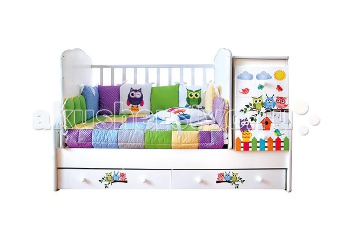 Комплект в кроватку VIP Persona Совята (14 предметов)Совята (14 предметов)Комплект в кроватку Совята (14 предметов) для  детской кровати.  Комплект 14 предметов: бортики 7 подушек  наволочка на молнии  простынь на резинке<br>