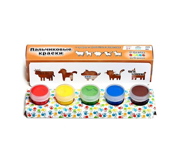 Краски Molly Пальчиковые краски с трафаретом Домашние животные 5 цветов 22 мл краски спейс краски пальчиковые 6 цветов сенсорные