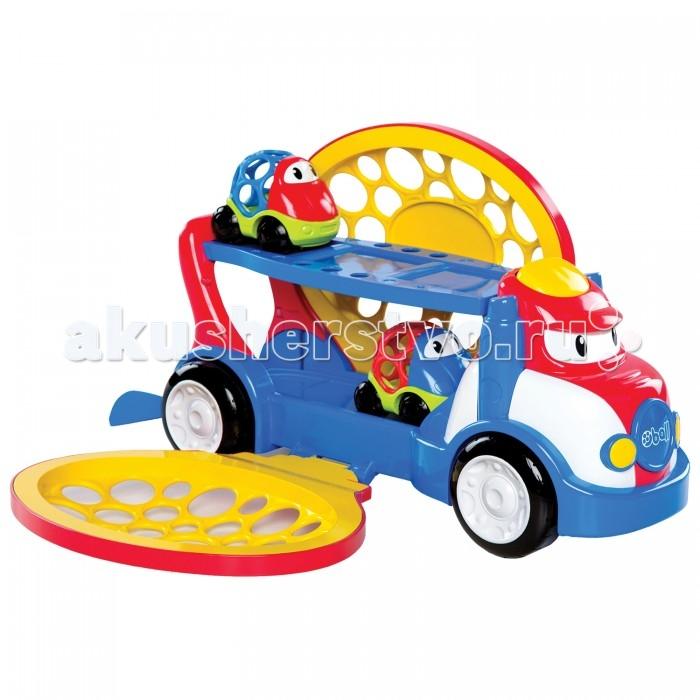 Oball Автовоз ДвухуровневыйАвтовоз ДвухуровневыйOball Автовоз Двухуровневый для быстрой и удобной транспортировки машинок! В него загружать машинки очень легко – передний бортик автовоза открывается и закрывается. А чтобы выгрузить машинки, малышу нужно открыть заднюю часть автовоза нажать и на жёлтую кнопочку, которая находится на кабине водителя. Нижняя платформа приподнимется, и машинки забавно выкатятся из автовоза. Колёса автовоза крутятся, кроха может с лёгкостью катать машину по ровной поверхности  В комплект входят:  автовоз  2 машинки<br>