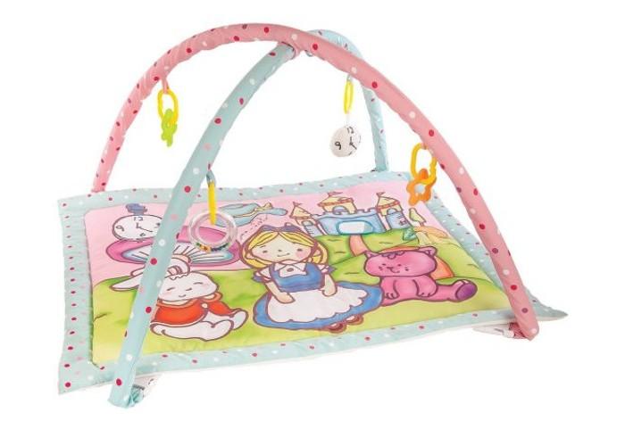 Развивающий коврик Жирафики Развивающий коврик Алиса и волшебный замокРазвивающий коврик Алиса и волшебный замокРазвивающий коврик Жирафики Алиса и волшебный замок. На развивающем коврике можно играть в трёх положениях: на спинке, на животике или сидя. Малышу будет интересно тянутся за развивающими игрушками, с помощью которых он будет изучать мир, а также смотреться в безопасное зеркальце и развивать пространственное воображение. Когда малыш научится сидеть, можно снять дуги и использовать коврик как мягкий и тёплый пол для игр. 5 развивающих игрушек Игровые элементы на поверхности коврика: шуршала и зеркальце 3 положения для игры.  Размер коврика: 95 х 60 см   Рекомендованный возраст: 1 мес +<br>