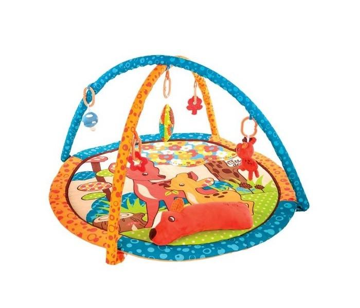 Развивающий коврик Жирафики Оленёнок БэмбиОленёнок БэмбиРазвивающий коврик Жирафики Оленёнок Бэмби. На развивающем коврике можно играть в трёх положениях: на спинке, на животике или сидя. Малышу будет интересно тянутся за развивающими игрушками, с помощью которых он будет изучать мир, а также смотреться в безопасное зеркальце и развивать пространственное воображение. Когда малыш научится сидеть, можно снять дуги и использовать коврик как мягкий и тёплый пол для игр. Игровые элементы на поверхности коврика: подушка и пищалка 3 положения для игры,  5 развивающих игрушек.  Диаметр: 80 см   Рекомендованный возраст: 1 мес +<br>
