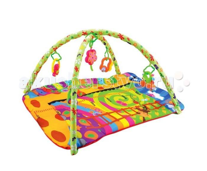 Развивающий коврик Жирафики Ростомер ЖирафикРостомер ЖирафикРазвивающий коврик Жирафики Ростомер Жирафик. На развивающем коврике можно играть в трёх положениях: на спинке, на животике или сидя. Малышу будет интересно тянутся за развивающими игрушками, с помощью которых он будет изучать мир, а также смотреться в безопасное зеркальце и развивать пространственное воображение. Когда малыш научится сидеть, можно снять дуги и использовать коврик как мягкий и тёплый пол для игр. С ковриком-ростомером можно следить, как растет малыш.   В комплекте: 4 развивающие игрушки и музыкальный цветок, 3 положения для игры.   Размер коврика: 81 х 68 см    Рекомендованный возраст: 1 мес +<br>