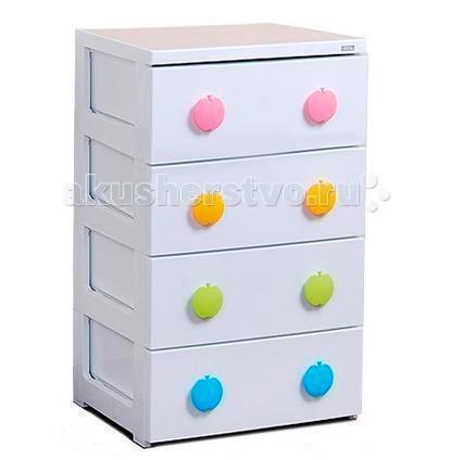 Комод Liko Baby Apple бельевойApple бельевойКомод бельевой Liko Baby Apple 42 см  Характеристики: Комод изготовлен из высокопрочного пластика Материал мебели устойчив к влаге, что повышает её практичность при использовании в ванных и кухонных комнат Роликовая система скольжения обеспечивает плавное и ровное выдвигание/задвигание шкафов комода Оформлен весёлыми рисунками и симпатичными ручками Пластиковый шкаф имеет ровную гладкую поверхность: легко моется и чистится при помощи влажной губки Легкий вес комода не создаёт сложностей при его транспортировке Ящики комода вместительны и идеально подходят для хранения детских игрушек и одежды, постельного белья и одеял Высокая вероятность сочетания аппликаций и цвета комода с колоритом штор и обоев, кафеля и ковровых дорожек<br>