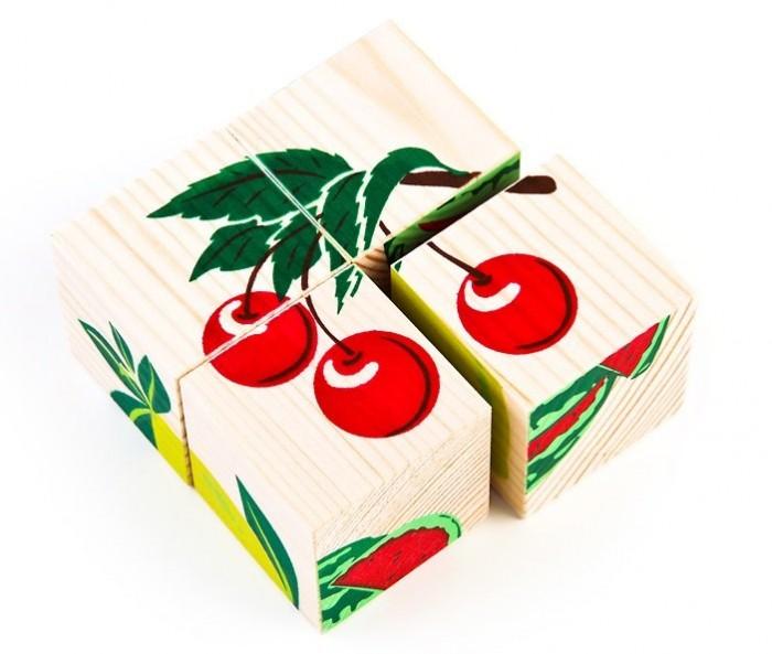 где купить Деревянные игрушки Томик Кубики Фрукты-Ягоды 4 шт. по лучшей цене