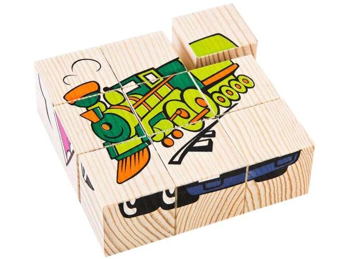 деревянные игрушки анданте кубики пазл транспорт Деревянные игрушки Томик Кубики Транспорт 9 шт.