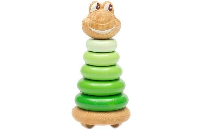 Деревянные игрушки Томик Пирамидка Лягушонок 7 деталей томик пирамидка лягушонок