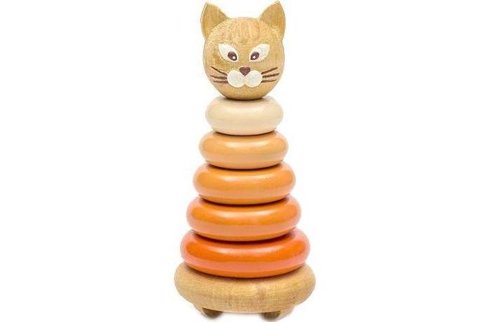 Деревянные игрушки Томик Пирамидка Котенок 7 деталей томик пирамидка лягушонок