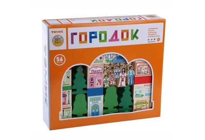 Деревянные игрушки Томик Конструктор Веселый городок 56 деталей двери не стандартные деревянные где купить