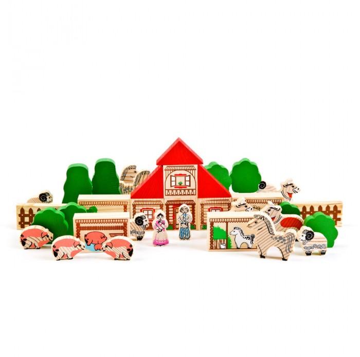Деревянные игрушки Томик Конструктор Ферма 42 детали двери не стандартные деревянные где купить