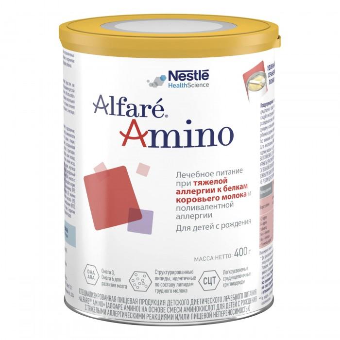 Nestle Alfare Amino Лечебная смесь 400 гAlfare Amino Лечебная смесь 400 гNestle Alfare Amino представляет собой неаллергенную аминокислотную смесь для эффективного облегчения симптомов, связанных с осложненными (тяжелыми) случаями аллергии на белок коровьего молока (АБКМ) и непереносимости пищевых продуктов. Смесь Alfar&#233; Amino также может использоваться как дополнительный вариант диетического лечения детей, не достигающих улучшения при применении высокогидролизованных смесей. Смесь Alfar&#233; Amino, в состав которой входит запатентованный комплекс липидов, предназначена для улучшения переносимости и степени всасывания в наиболее проблематичных ситуациях. Alfar&#233;® Amino имеет нейтральный вкус, благодаря чему хорошо принимается детьми и может использоваться с самого рождения.  Состав: Глюкозный сироп, растительные масла (подсолнечное масло с высоким содержанием олеиновой кислоты, масло канола, подсолнечное масло, пальмовый олеин), аминокислоты (L-аргинин, L-аспартат, L-лизина ацетат, L-лейцин, L-пролин, L-глутамин, L-валин, глицин, L-изолейцин-треонин, L-серин, L-фенилаланин, L-тирозин, L-гистидин, L-аланин, L-цистин, L-триптофан магния, L-аспартат, L-метионон), среднецепочечные триглицериды, картофельный крахмал, минеральные вещества (кальция глицерофосфат, калия хлорид, кальция цитрат, натрия цитрат, калия цитрат, натрия фосфат, магния оксид, железа сульфат, цинка сульфат, меди сульфат, калия йодид, марганца сульфат, натрия селенат), эмульгатор (У472с), докозагексаеновая кислота (DHA), арахидоновая кислота (ARA), витамины (С, Е, ниацин, пантотеновая кислота, В2, А, В1, В6, фолиевая кислота, D3, К1, В12, биотин), холина битартрат, регулятор кислотности (Е330), таурин, инозит, карнитин. Смесь должна использоваться ТОЛЬКО при назначении и под наблюдением врача!<br>