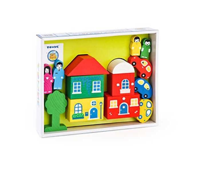 Деревянные игрушки Томик Конструктор Цветной городок 14 деталей двери не стандартные деревянные где купить