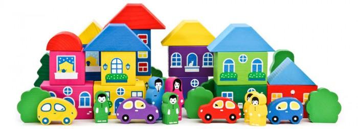 Деревянная игрушка Томик Конструктор Цветной городок большой