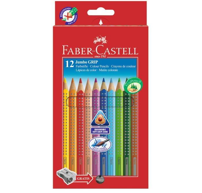 Карандаши, восковые мелки, пастель Faber-Castell Цветные карандаши Jumbo Grip с точилкой 12 шт. erichkrause цветные карандаши 12цв треугольн с точилкой 3 раскраски artberry jumbo