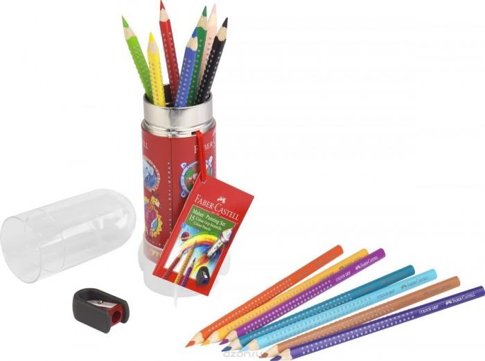 Развитие и школа , Карандаши, восковые мелки, пастель Faber-Castell Цветные карандаши Grip в пластиковом тубе Ракета 15 шт. арт: 301078 -  Карандаши, восковые мелки, пастель