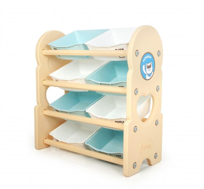 Ifam Стеллаж для игрушек Papa BearСтеллаж для игрушек Papa BearIfam Стеллаж для игрушек Papa Bear удобный и высокий стеллаж для игрушек PAPA BEAR выполнен из бежевого пластика корейского производства. Такой безопасный для детей материал не впитывает влагу и легко очищается водой с моющими средствами. Данная модель весит 6,91 кг и в готовом виде занимает 76 x 36 x 83,5 см.  Конструкция стеллажа предусматривает 4 полки, на которые устанавливаются 8 открытых ящиков. На каждый из них нанесены изображения, в соответствие с которыми ребёнок может разложить книги, музыкальные инструменты, карандаши, игрушки и пр. Это удобно и приучает детей к порядку.<br>