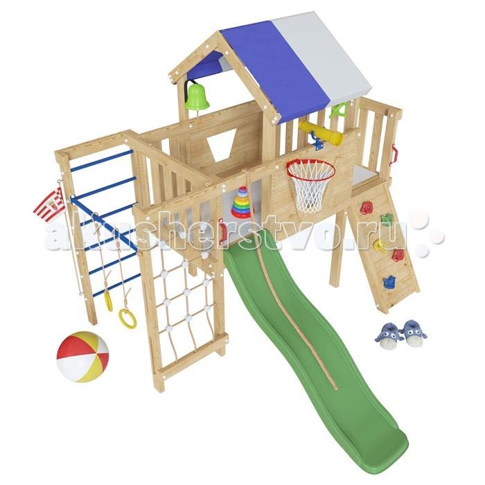 Самсон Детский игровой чердак для дома и дачи ВинниДетский игровой чердак для дома и дачи ВинниСамсон Детский игровой чердак для дома и дачи Винни предназначен для детей от 3 до 9 лет, создает условия, обеспечивающие физическое развитие ребенка, развивающие координацию движений, преодоление страха высоты, ловкость и смелость, чувство коллективизма в массовых играх.   Материал: Каркас изделия, ограждение и иные элементы изготовлены из массива сибирской сосны/лиственницы. Все детали шлифованы, без покрытия.   Комплектация:  домик-чердак с крышей из ткани горка пластиковая скалодром с зацепками (4 шт.)  скалодром-сетка шведская стенка с металлическими перекладинами турник металлический баскетбольное кольцо кольца пластиковые телескоп пластиковый колокол-рында флагшток с флажком штурвал пластиковый канат ручки пластиковые (2 шт.)  Габариты площадки:  внешние размеры домика 2.5 м х 2.6 м высота с крышей 2.3 м высота базы 0.9 м  длина горки 1.3 м  Общий вес площадки: 150 кг (+/- 5 кг). Занимаемая площадь 3.0 м х 3.5 м   Прилагается подробная инструкция по сборке. Товар поставляется в 8 коробках: 1 (250 x 25.5 x 8.5) 2 (250 x 25.5 x 8.5)  3 (200 x 17 x 8.5) 4 (250 x 25.5 x 8.5) 5 (120 x 30 x 17) 6 (120 x 30 x 17)  7 (38 x 20 x 59) 8 (48 x 16 x 173)<br>