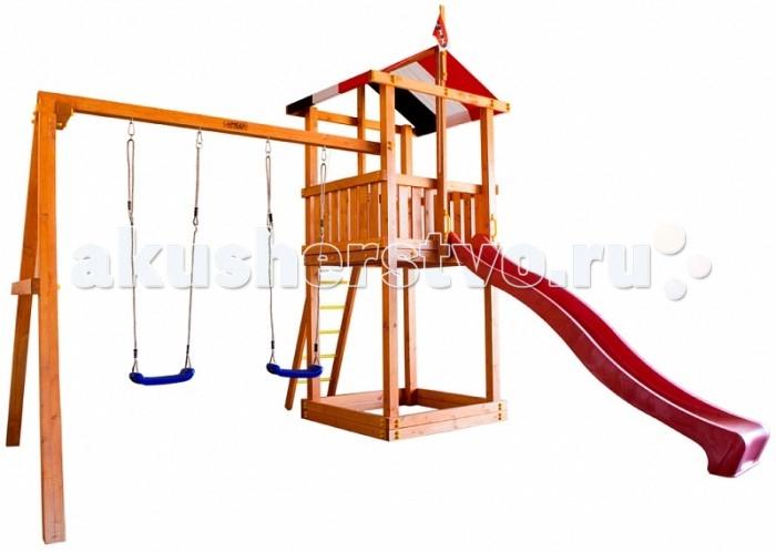 Самсон Детская площадка КирибатиДетская площадка КирибатиСамсон Детская игровая площадка Кирибати предназначена для детей от 4 до 9 лет, создает условия, обеспечивающие физическое развитие ребенка, развивающие координацию движений, преодоление страха высоты, ловкость и смелость, чувство коллективизма в массовых играх.   Комплектация детской игровой площадки Кирибати:  яркая натяжная крыша песочница (175 мм) деревянная лестница с металлическими ступеньками скалодром с канатом шведская стенка канат качели (2 шт.) флаг тихоокеанского государства Кирибати желтые пластиковые поручни длина 250 мм (4 шт.) горка (4 цвета: зеленый, красный, желтый, синий. Цвет горки комплектуется из имеющихся на складе). Габариты площадки:  внешние размеры 4.4 м х 4.4 м  высота 3.2 м  длина горки 3 м  Допустимая нагрузка: 300 кг.  Масса изделия: 226.5 кг.   Каркас детской игровой площадки изготовлен из многослойного клееного соснового бруса толщиной 85 мм,пол, ограждения из массива сосны толщиной 17 мм.   Детская деревянная площадка упакована в гофрокартоновые короба: 11 мест + горка.  1 место (17 х 9 х 280) 2 место (17 х 9 х 280) 3 место (30 х 9 х 250) 4 место (21 х 9 х 180) 5 место (27 х 17 х 120) 6 место (19 х 21 х 120) 7 место (30 х 9 х 185) 8 место (30 х 9 х 185) 9 место (27 х 17 х 120) 10 место (32 х 4 х 121) 11 место (38 х 13 х 59) 12 место (50 х 31 х 300)<br>