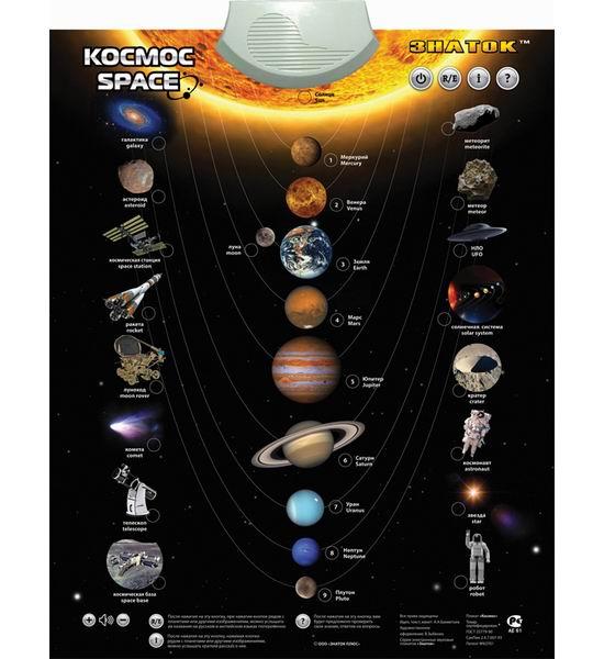 Развитие и школа , Обучающие плакаты Знаток Электронный звуковой плакат Космос арт: 30186 -  Обучающие плакаты