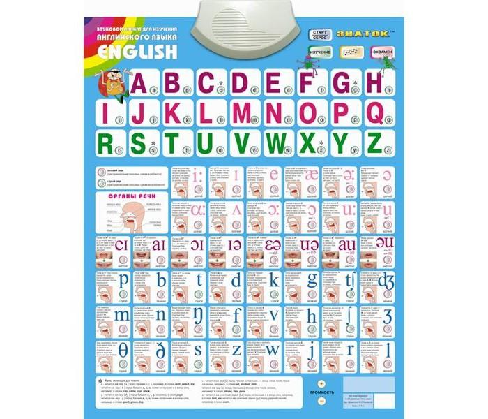 Развитие и школа , Обучающие плакаты Знаток Электронный звуковой плакат English арт: 30189 -  Обучающие плакаты
