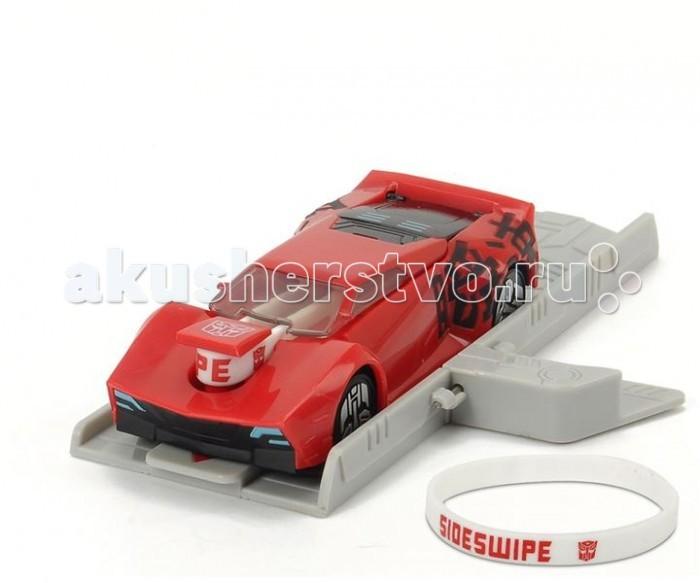 Машины Dickie Машинка Трансформеры Sideswipe с запуском, браслет 11 см машины dickie трансформеры боевая машинка sideswipe со светом и звуком 20 см