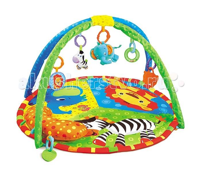 Развивающий коврик FunKids Cartoon Game Gym 27289Cartoon Game Gym 27289Развивающий коврик Funkids Cartoon Game Gym 27289 для самых маленьких.  На коврике ваш малыш откроет для себя мир, полный новых тактильных ощущений, сочных красок, ярких образов и звуков! Можно лежать на спине, ползать на животе, толкаться ногами, сидеть и развиваться в компании веселых друзей.  Яркий рисунок веселых зверей Африки  Две игровых дуги с мягкими съемными игрушками, пластиковыми погремушками и безопасным зеркалом Для удобства малыша к коврику можно закрепить подушечку;  Размеры коврика Cartoon Game Gym в разложенном состоянии: Длина - 80 см Ширина - 80 см Высота игровой дуги - 50 см.<br>