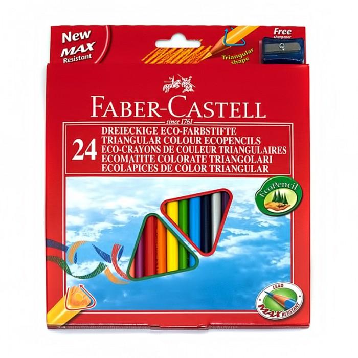 Картинка для Faber-Castell Цветные трёхгранные карандаши Eco в картонной коробке 24 шт. точилка