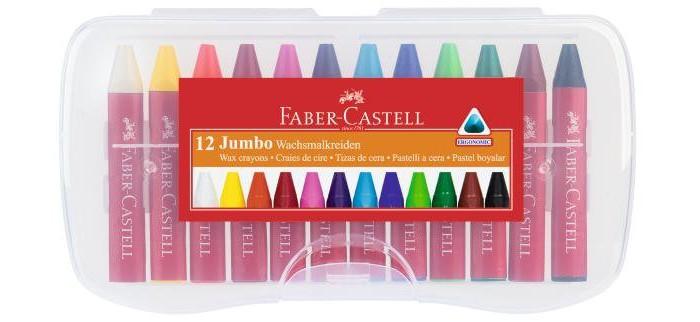 Карандаши, восковые мелки, пастель Faber-Castell Восковые мелки Jumbo в пластиковой коробке 12 шт. карандаши восковые мелки пастель kuso мелки восковые кирпичики 4 цвета
