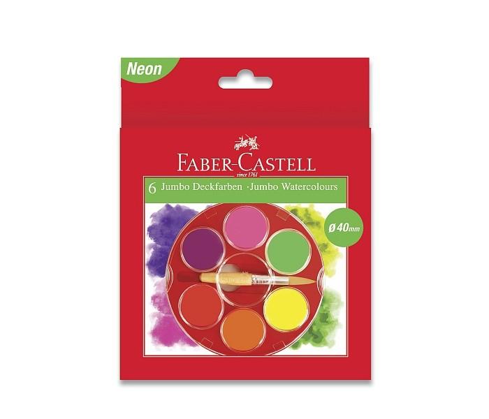 Краски Faber-Castell Акварельные краски Jumbo неоновые цвета диаметр 40 мм 6 шт. краски faber castell гуашь флуоресцентные цвета 6 шт