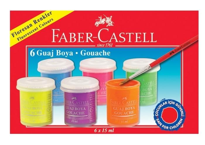 Faber-Castell Гуашь флуоресцентные цвета 6 шт.