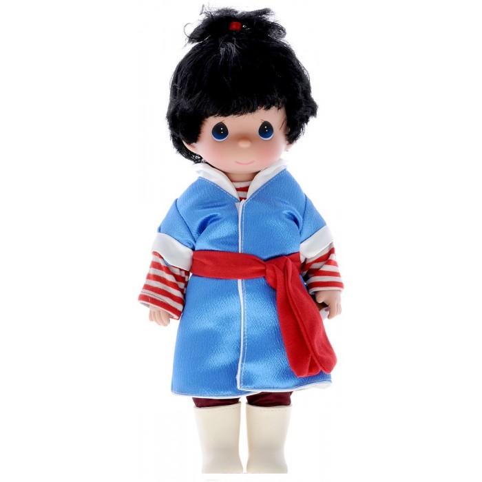 Precious Кукла Алфида 30 смКукла Алфида 30 смКукла Precious Moments Кай очарует вас и вашу дочурку с первого взгляда!   Кукла одета в полосатую кофточку и синее пальто, а на ногах - штаны и светлые сапожки. У Альфиды короткие черные волосы и большие синие глаза.    Особенности:  Вся одежда съемная.   Кукла изготавливается из качественного, безопасного материала и имеет пять базовых точек артикуляции.   Кукла имеет свой неповторимый образ и характер.   Волосы прошитые, из качественного синтетического волокна или крученых ниток, в зависимости от образа. Рост куклы 30 см.<br>