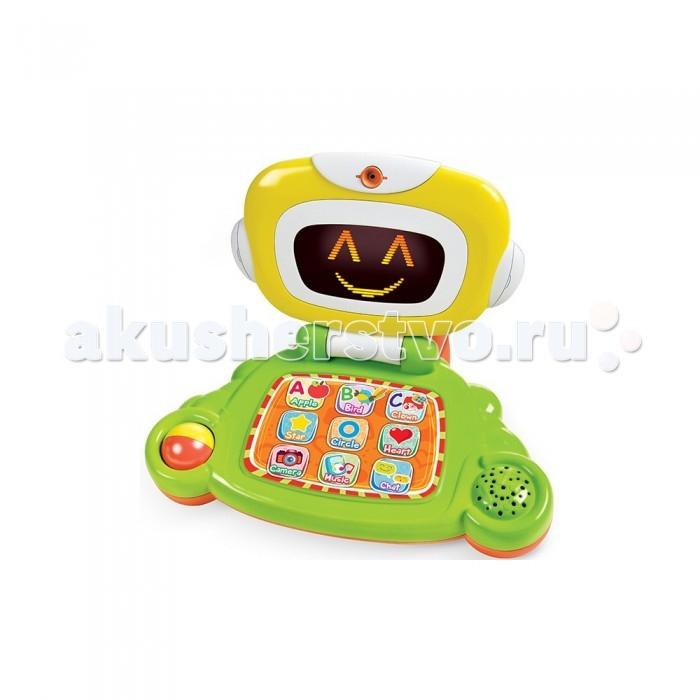 Развивающая игрушка B kids Обучающая игрушка КомпьютерОбучающая игрушка КомпьютерB kids Обучающая игрушка Компьютер – это самый настоящий персональный ноутбук малыша. У него более 40 различных обучающий функций и работающий дисплей.  В этом ноутбуке предусмотрено три блока развивающих программ: Learning Time (изучаем цвета, буквы, формы и предметы) Music Fun (проигрываем одиночные ноты и мелодии вместе) Emotional Development (лэптоп демонстрирует разные выражение человеческих лиц, а малыш выполняет упражнения) Игрушка удобна в транспортировке: она может складываться как настоящий ноутбук, а еще здесь предусмотрена ручка для переноски. Для работы необходимы 3 батарейки AA. Они входят в комплект.  Высота ноутбука: 24 см<br>
